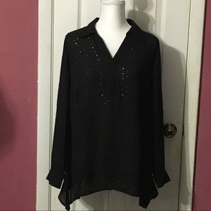Style & Co Exotic Oasis deep black pullover blouse